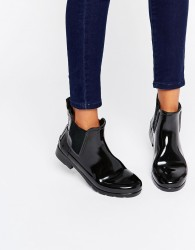Hunter Original Refined Black Gloss Chelsea Wellington Boots - Black