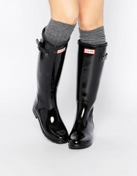 Hunter Original Refined Black Gloss Tall Wellington Boots - Black