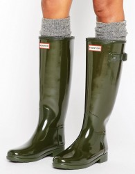 Hunter Original Refined Gloss Dark Olive Tall Wellington Boots - Green