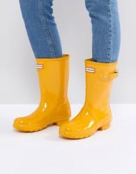 Hunter Original Short Gloss Wellington Boot in Yellow - Yellow