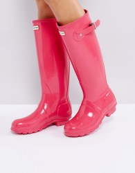 Hunter Original Tall Bright Pink Gloss Wellington Boots - Pink