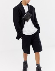 HXTN Supply transparent cross body bum bag in black - Black