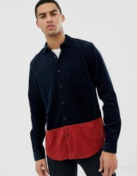 Hymn Cord Colourblock Shirt - Navy