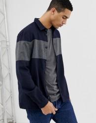 Hymn Horizontal Stripe Overshirt With Pockets - Grey