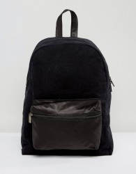 Hymn Leather Front Pocket Backpack - Black
