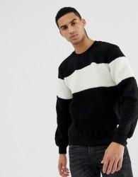 Hymn Sherpa Chest Stripe Sweatshirt - Black