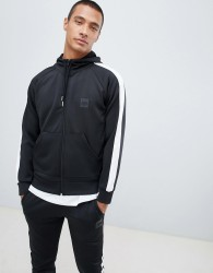 Hype hoodie in black poly with side stripe - Black