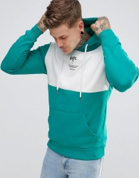 Hype Hoodie In Teal With Panel - Green