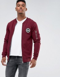 Hype Jersey Bomber Jacket In Burgundy - Red