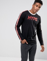 Hype Long Sleeve T-Shirt In Black With Taping - Black