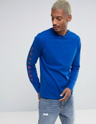 Hype Long Sleeve T-Shirt With Arm Print - Blue