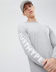 Hype long sleeve t-shirt with sleeve print in grey - Grey