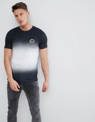 Hype Muscle T-Shirt In Black Speckle Fade - Black