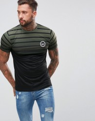 Hype Muscle T-Shirt In Khaki Stripes With Fade - Green
