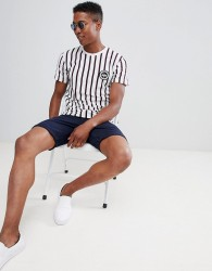 Hype Muscle T-Shirt In White Stripe - White