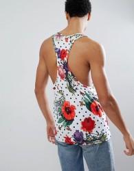 Hype Muscle Vest In Polka Floral - Multi