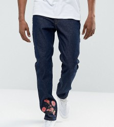 Hype Slim Jeans In Blue With Floral Embroidery - Blue