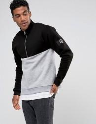 Hype Sweatshirt In Black With Half Zip Funnel Neck - Black