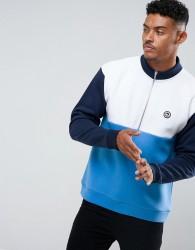 Hype Sweatshirt In Blue With Half Zip Funnel Neck - Blue