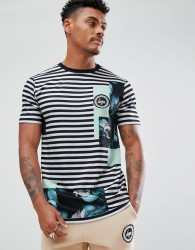 Hype T-Shirt In Black Stripe With Floral Print - White