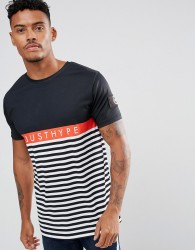 Hype T-Shirt In Black With Stripes - Black