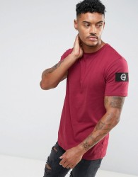 Hype T-Shirt In Burgundy With Sleeve Patch - Red