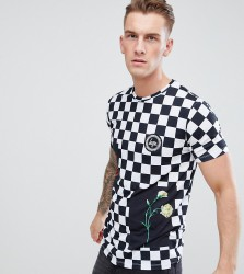 Hype T-Shirt In Checkerboard Exclusive to ASOS - White