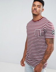 Hype T-Shirt In Grey With Burgundy Stripes - Grey