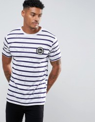 Hype T-Shirt In White With Stripes And Speckle - White