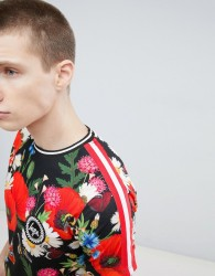 Hype t-shirt with all over poppy print - Red