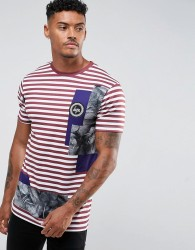 Hype T-Shirt With Burgundy Stripes - White