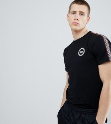 Hype T-Shirt With Checker Side Stripe Exclusive to ASOS - Black