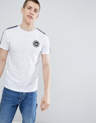 Hype t-shirt with side stripe in white - White