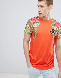 Hype t-shirt with tropical print in red - Red