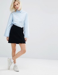 I Love Friday Asymmetrical Mini Skirt With Button Detail - Navy