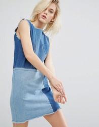 I Love Friday Shift Dress In Patchwork Denim - Blue