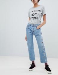 Iceberg Eyelet Side Seam Crop Straight Leg Jeans - Blue