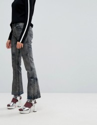 Iceberg Pleat Detail Crop Kick Flare Jeans with Let Down Hem - Black
