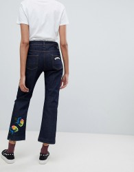 Iceberg Straight Leg Crop Jeans With Floral Applique - Blue