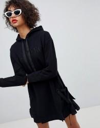 Iceberg Tonal Logo Grosgrain Drawcord Hoody Dress - Black