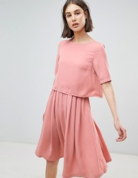 Ichi 2-In-1 Skater Dress - Pink