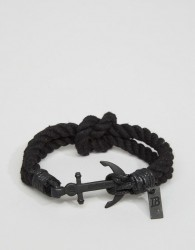 Icon Brand Anchor Woven Bracelet In Black - Black