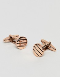Icon Brand antique rose gold cufflinks with pinstripe detail - Gold