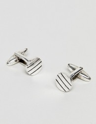 Icon Brand antique silver cufflinks with pinstripe detail - Silver