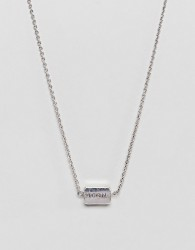 Icon Brand antique silver necklace with pinstripe detail - Silver
