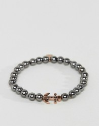 Icon Brand Beaded Bracelet In Gunmetal With Anchor - Silver