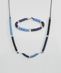 Icon Brand Beaded Bracelet & Necklace In 2 Pack - Blue
