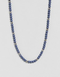 Icon Brand Beaded Necklace In Marble Blue Exclusive To ASOS - Blue