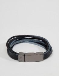 Icon Brand black leather bracelet - Black