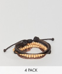 Icon Brand Brown Combo Bracelet In 4 Pack - Brown